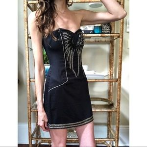 French connection strapless beaded dress